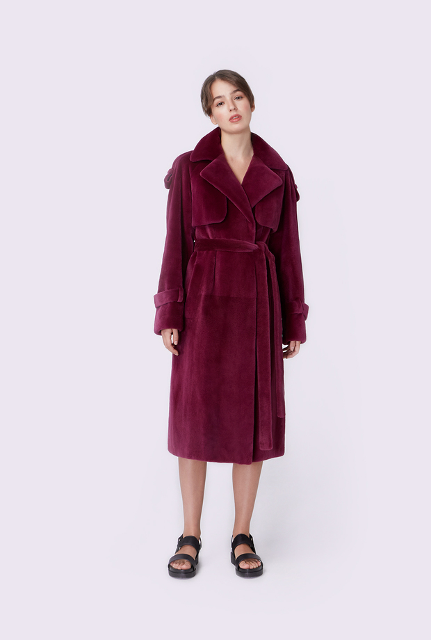 Sheared mink trench coat
