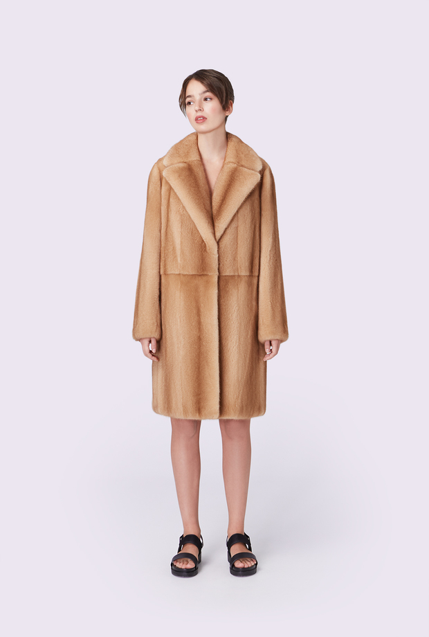 Mink coat with English collar